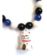 Lucky Kitty Maneki Neko Stretch Bracelet with Glass and White Stone Beads - $14.00