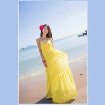 Summer Sun Extra Long Thin V Neck Halter Straps Bohemian Style Beach Maxi Dress  image 4