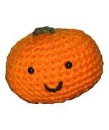 Little Amigurumi Smiling Pumpkin Plush Crocheted, Two Inches Tall - $9.50