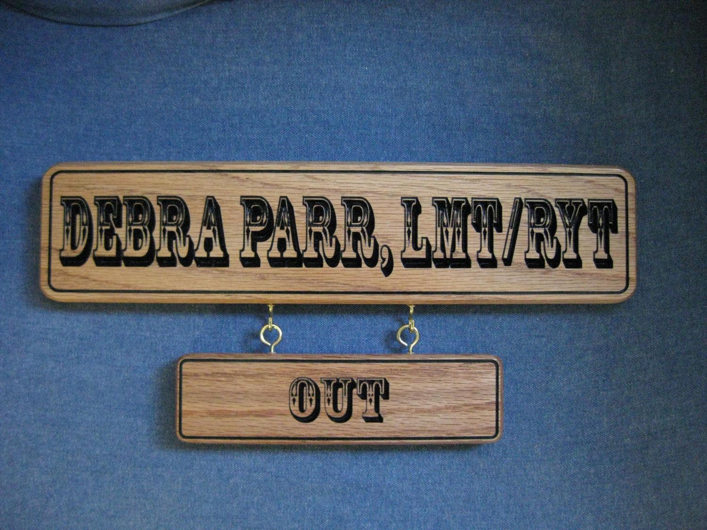 Custom office door name plate solid red oak desk for Door name plates
