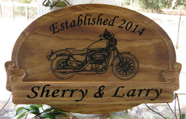 Custom Name Sign with Harley Davidson Motorcycl... - $76.99