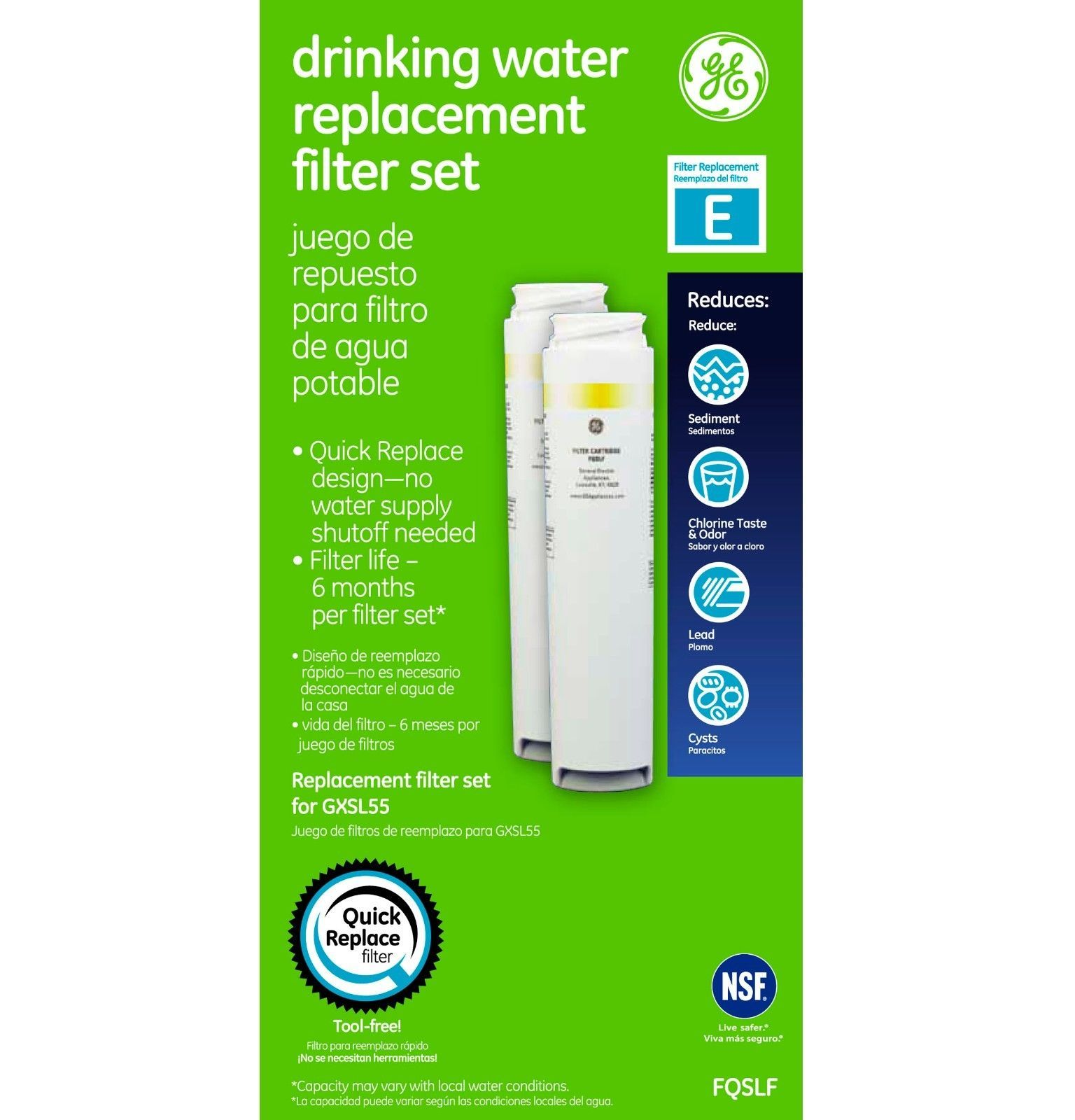 Ge Fqslf Dual Stage Under Counter Water Filtration System