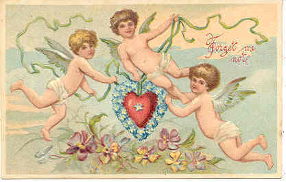 Primary image for Forget Me Not Cupids Vintage Valentine Post Card