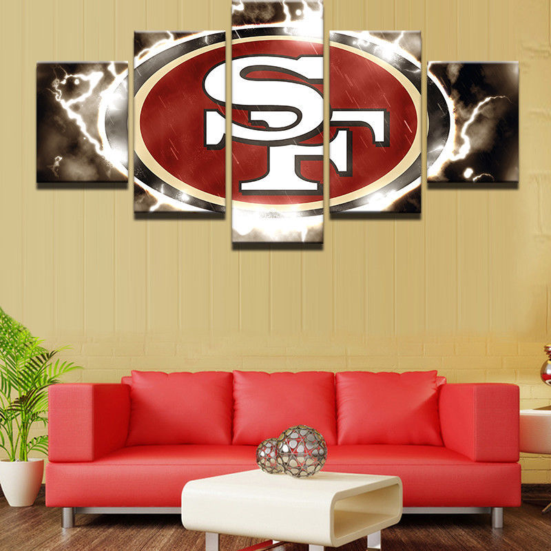 5 Piece Canvas San Francisco 49ers Framed Prints Wall Art Home Decor Painting for sale  USA