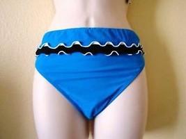 Nwt Gottex  Profile Classic Ruffled Swimsuit Bikini Bottom Sz 14 Blue - $15.79