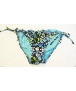 Nwt 99 Degrees Ruffled String Swimsuit Bikini Bottom Sz M Medium Blue Fl... - $9.85
