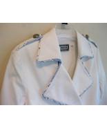 NWT White trench coat 6 Nautical Blue trim Mili... - $59.99