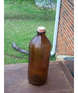 Antique Large 32 Oz Household Clorox Bottle Amber Brown Glass w/Cap Lid - $30.00