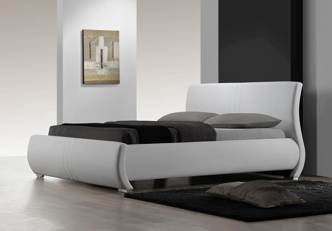 Montecito White Leather Curved Platform Bed. Model: 2120
