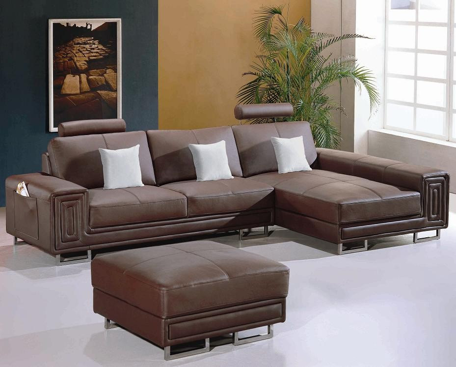 Modern Leather Sectional Sofa With Matching Ottoman Model Lf 5622 Sofas Loveseats Chaises
