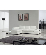 Modern White Leather Sectional Sofa with Built-in Light and Table. Model... - $1,995.00