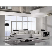 Contemporary Leather Sectional Accent Sofa with Shelf and Table. Model: CP-T117 - $2,399.00