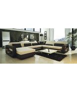 Ultra Modern Cream and Black Leather Sectional Sofa with Matching Throw ... - $2,595.00