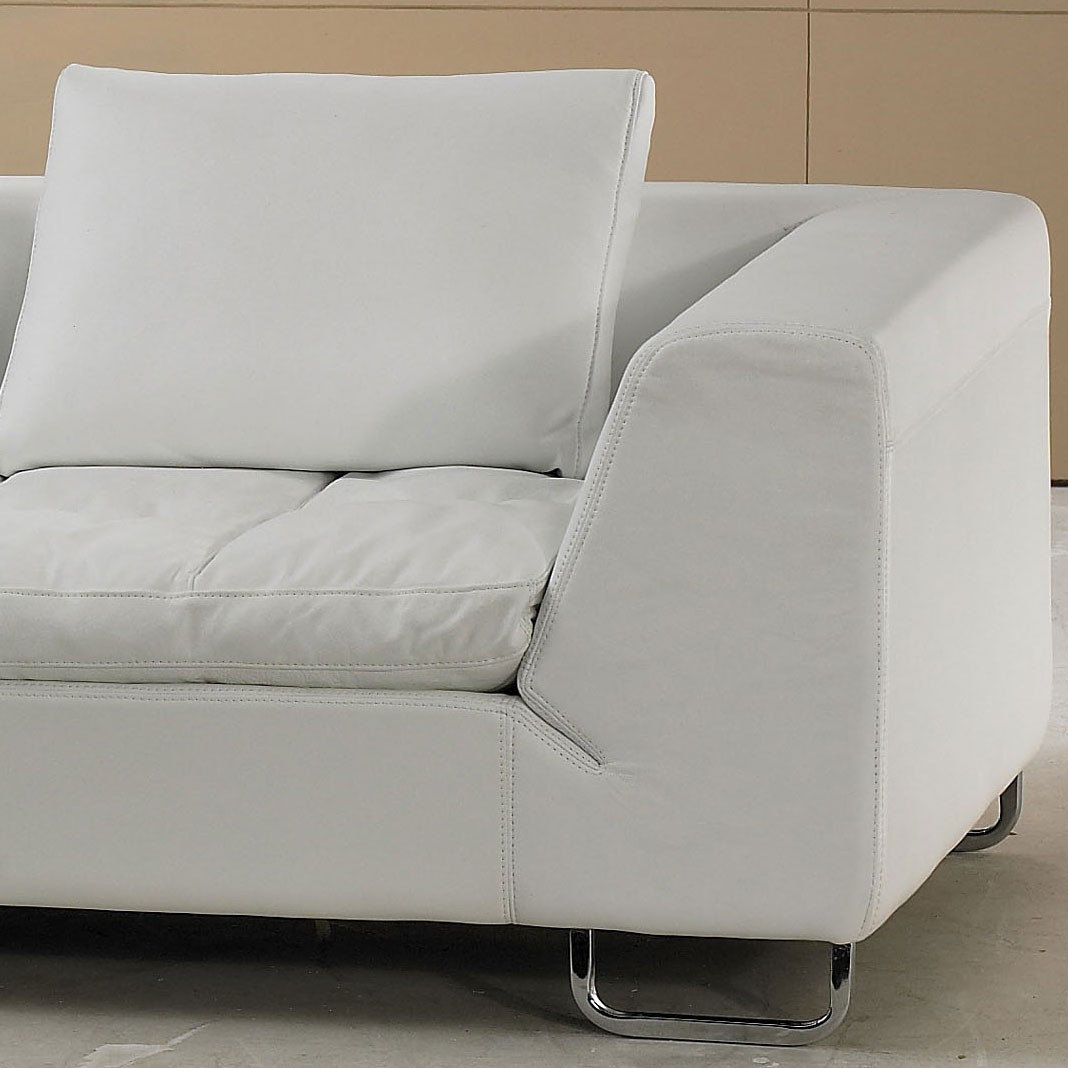 White Leather Sectional Sofa With Pillow Top Design. Model