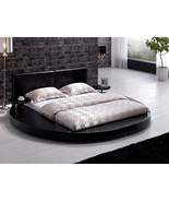 Modern Round Leather Platform Bed with Side Round Tables - King/Queen Bl... - $1,275.00