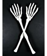 Halloween Skeleton Hands Arms Salad Tongs Spoons Serving Utensils Plastic - $12.86