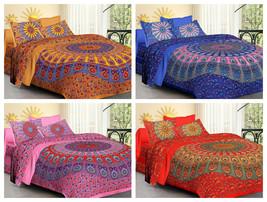 Indian Peacock Mandala Duvet Cover With Two Pillow Cover Boho Bohemian B... - $49.99