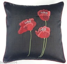 """2 X POPPY BLACK RED  FAUX SILK FLORAL 18"""" EMBROIDERED CUSHION COVERS - £10.50 GBP"""
