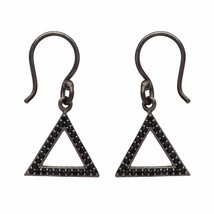 Black Spinel 925 Sterling Silver Dangle Hook Earring Shine Jewelry SHER0683 - $24.47