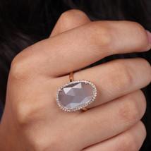 Solid 14k Gold Natural Diamond Moonstone Gemstone Ring Gift For Women - $732.50