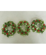 vintage lot of three plastic holly berry wreath candle rings winter decor  - $19.75