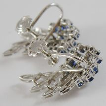 SOLID 18K WHITE GOLD FLOWER, LEAVES SCREW BACK EARRINGS WITH DIAMONDS SAPPHIRES image 5