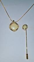 Vintage stick pin and necklace white enamel and rhinestone Gold tone - $15.00