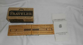 Vintage The Traveller Folding Cribbage Board and Box Complete - $9.46