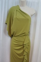 Jessica Simpson Dress Sz XS Green One Shoulder Ruched Evening Cocktail D... - $53.91
