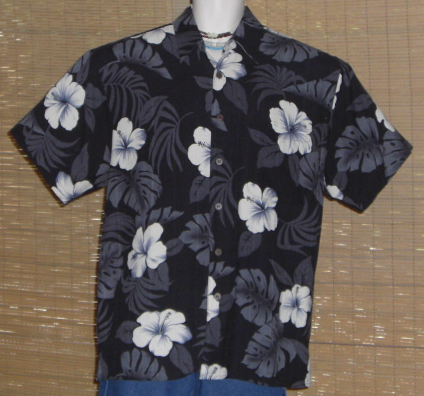 Hawaiian Reserve Collection Hawaiian Shirt Black Gray White hibiscus Silk Medium
