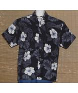 Hawaiian Reserve Collection Hawaiian Shirt Black Gray White hibiscus Sil... - $16.95