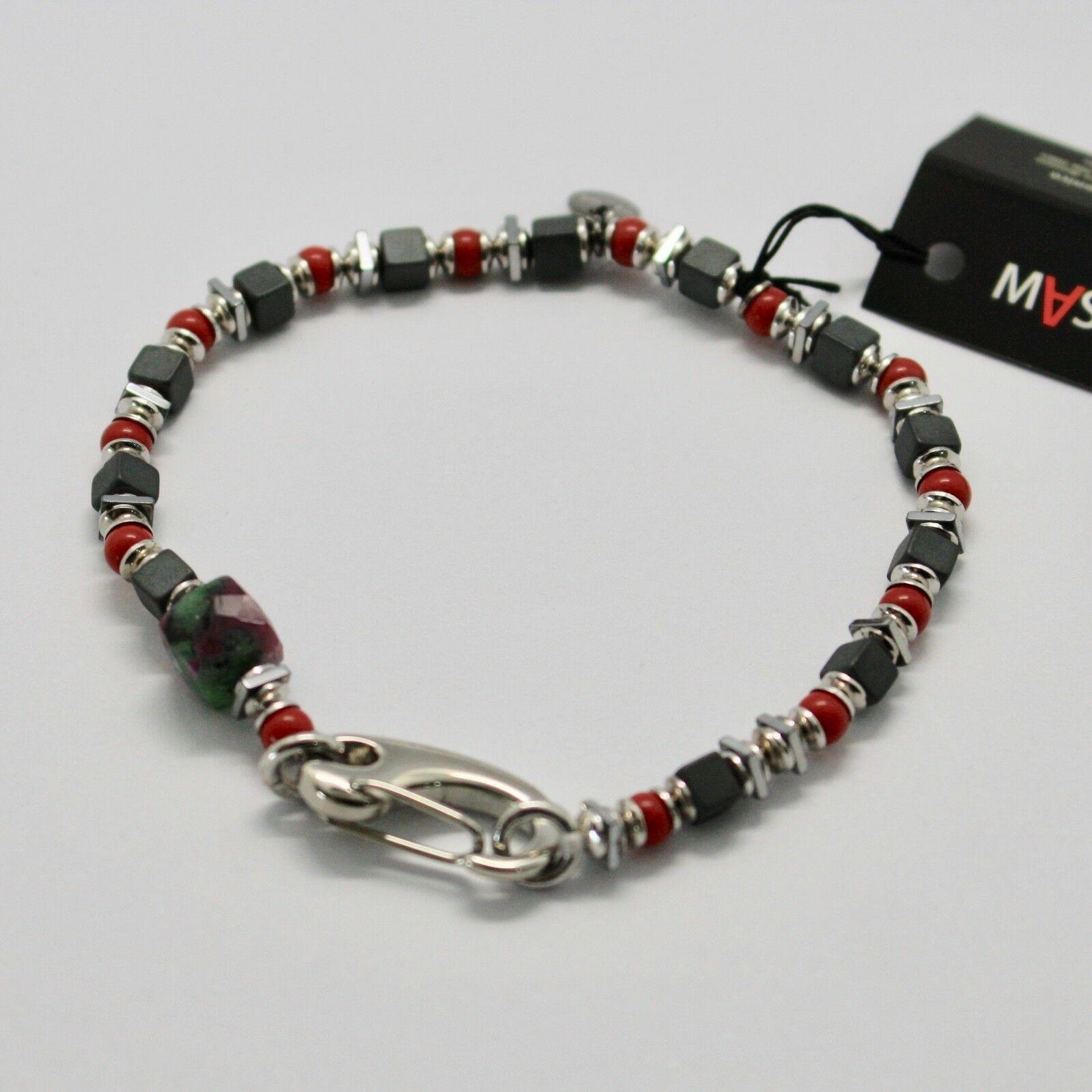 Bracelet en Argent 925 Rubis Zoïsite Corail BPAN-13 Fabriqué Italie By Maschia
