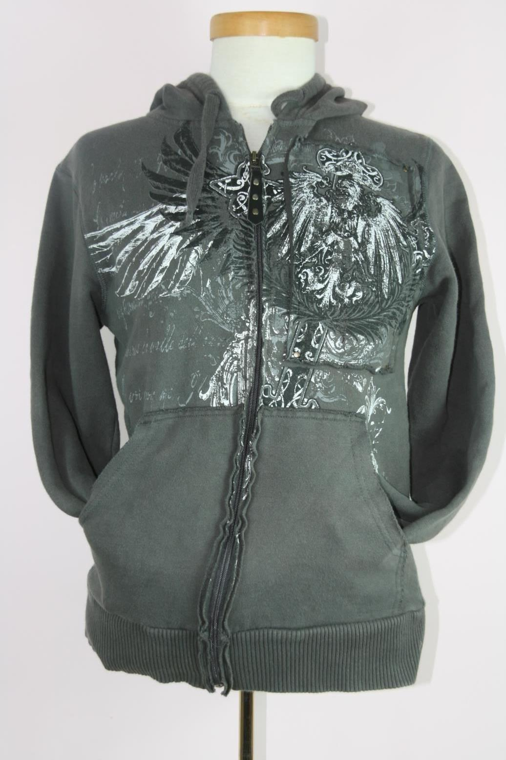 Destruction Gray Graphic Hoodie Zippered Sz Small image 4