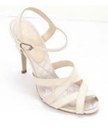 CHANEL Ivory Leather Sandal Cream Shoe Heel Silver-Tone Crystal CC 38 - $403.75