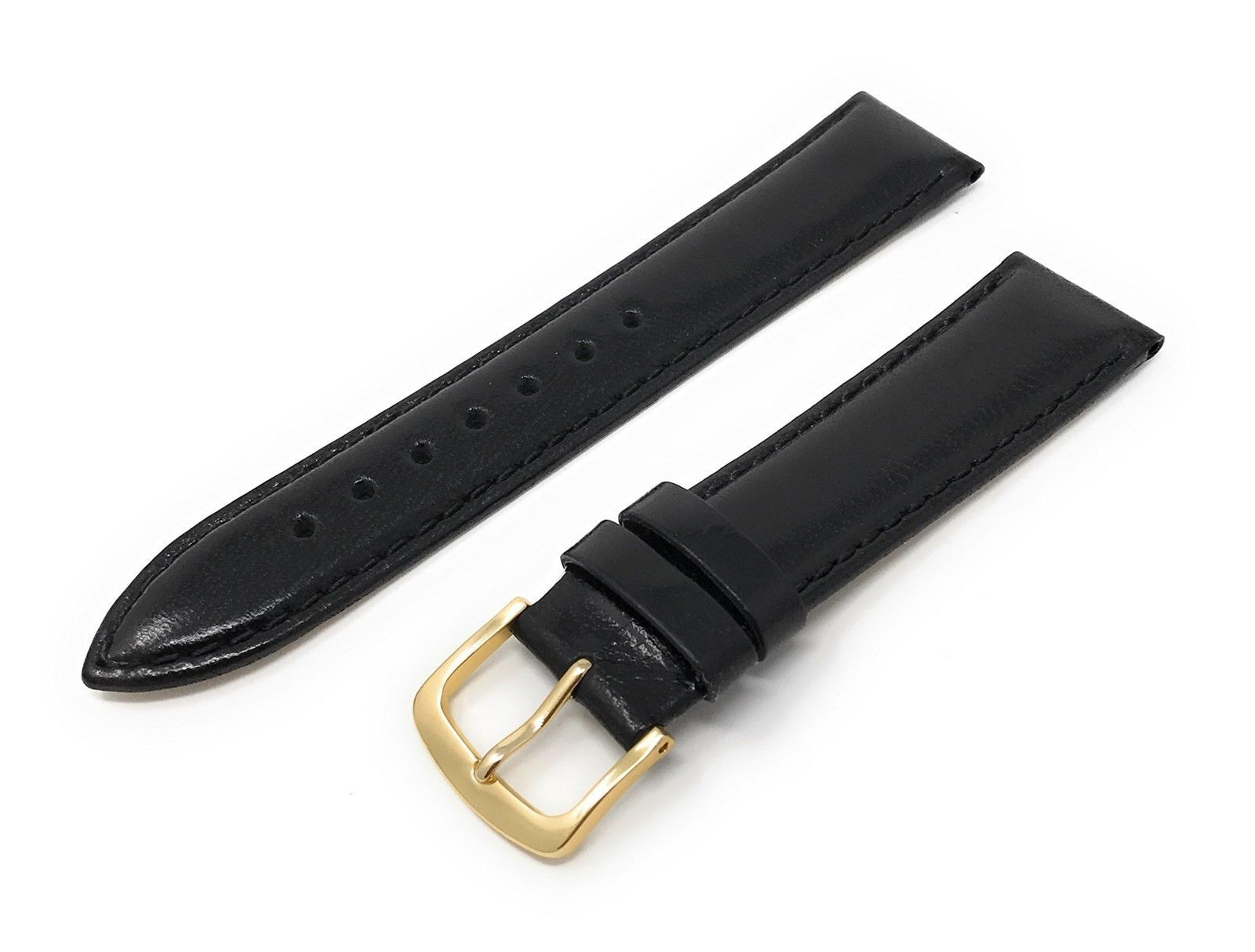 Primary image for Mens Genuine Italian Leather Watchband Black 22mm Watch Band - by JP Leatherwork