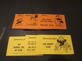 VTG PARKER BROS MONOPOLY 1960-1980'S CHANCE AND COMMUNITY CARDS COMPLETE... - $3.42