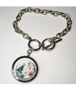 Floating Charms Locket Bracelet Christmas Tree Christmas Silver Tone - $17.99