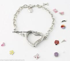 Reversible Crystal Heart Floating Charm Glass Memory Locket Bracelet - $11.87