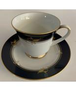 Noritake Legacy Rangoon ~ Cup & Saucer~ White / Cobalt Blue / Gold Rim - $7.91