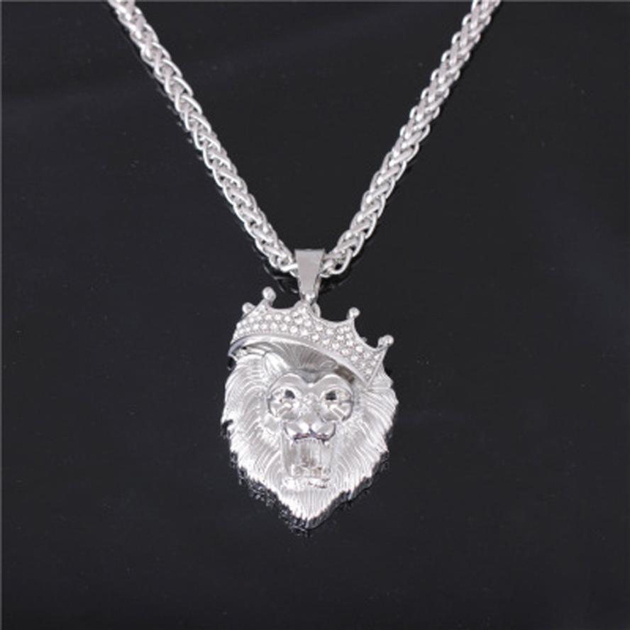 BlingWorld Fashion Man Personality Full Iced Out Rhinestone Lion Tag Cuban Chain