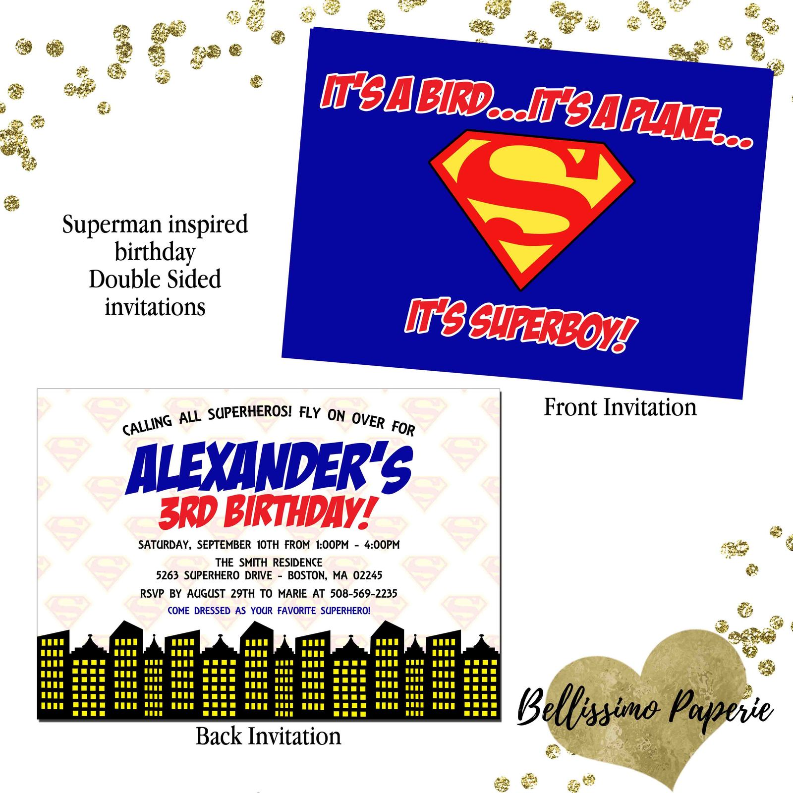Superman Birthday Invitation Superhero And Similar Items