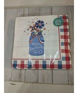 "Pioneer Woman Red White Blue Mason Jar Patriotic Lg 8"" Paper Napkins Rec... - $9.97"