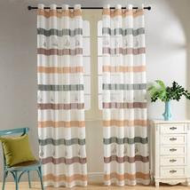 Nautical Window Treatment Sheer Curtain Panel Drape DMC486 Dolce Mela Be... - $66.97