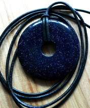 Long Cowhide Leather String Necklace With Donut Pendant Goldstone Purple... - $9.79