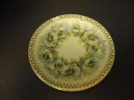 VINTAGE PLATE SAUCER MIGNON VIOLET FLOWER SET OF 2 DECOR GOLD TRIM WHITE... - $11.00