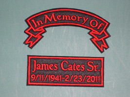 IN MEMORY OF BANNER CUSTOM BIKER PATCH 2 PATCHES CHOOSE COLORS, FONT, CU... - $11.95
