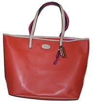 Coach Metro Leather Tote Sv/vermillion Coral - $326.20