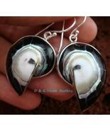 Sterling Silver Black Nautilus Shell Earrings ER-535-DG - $20.37
