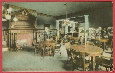 Marquette Mi City Library Interior Tables Postcard BJs