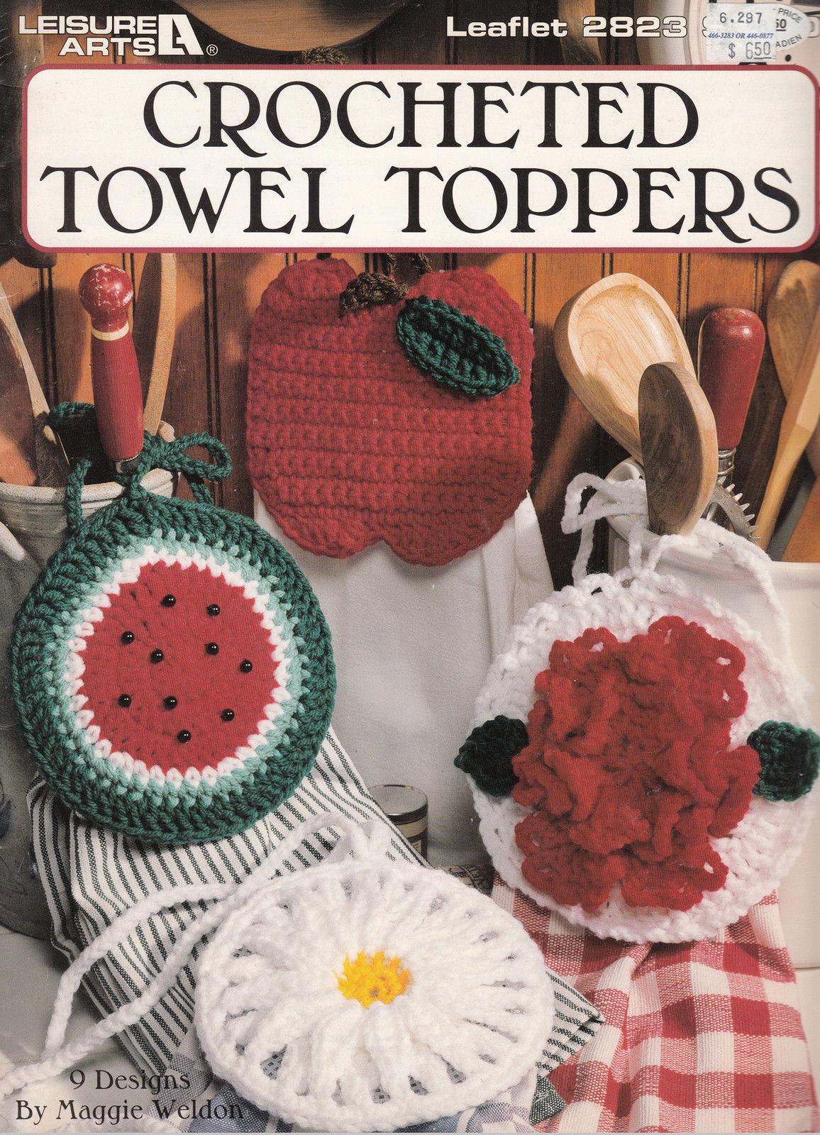 CROCHET TOWEL TOPPERS - FLOWERS & FRUIT! LEISURE ARTS 2823 - $8.98